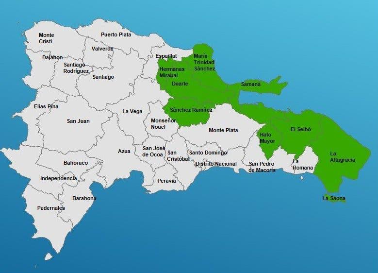 Siete provincias dominicanas en alerta por las lluvias