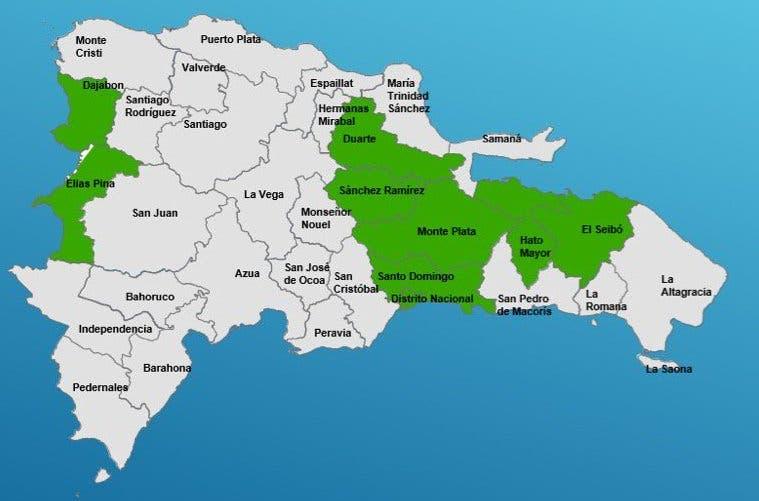 COE eleva a nueve las provincias en alerta verde