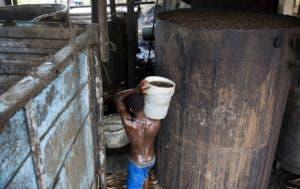 En esta imagen, Gabriel Shnaider, de 22 años, carga con un cubo de zumo de azúcar de caña hasta un contenedor más grande para su fermentación, en la destilería Ti Jean, donde se fabricar clairin, una bebida alcohólica azucarada, en Leogane, Haití. AP