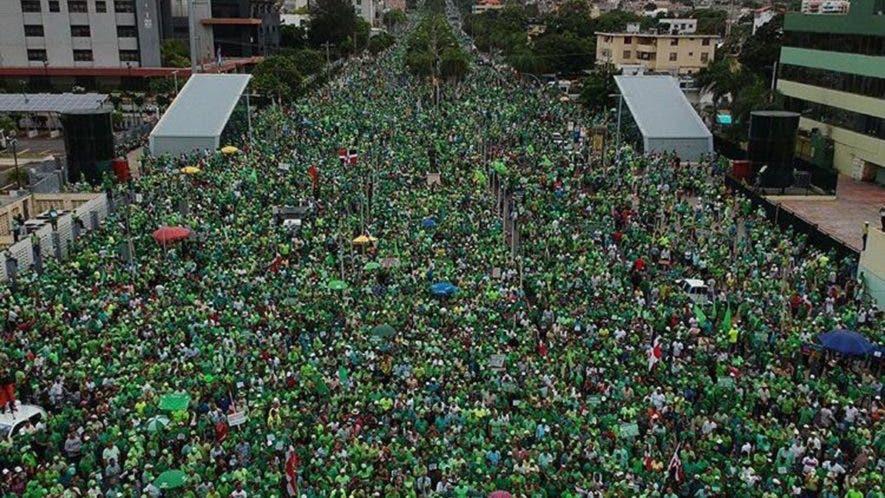 Vista aérea de la  Marcha Verde contra la Impunidad.  Fuente Externa.