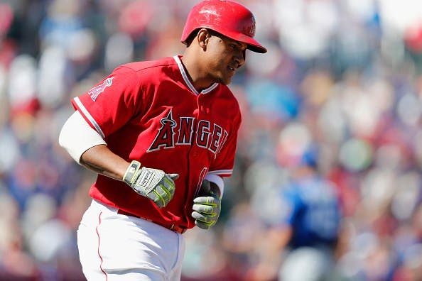 TEMPE, AZ - MARCH 06:  Jefry Marte #19 of the Los Angeles Angels rounds the bases after a home run in the second inning against the Chicago Cubs during the spring training game at Tempe Diablo Stadium on March 6, 2017 in Tempe, Arizona.  (Photo by Tim Warner/Getty Images)