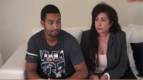 Marlon Martínez junto a su madre Marlin Martínez. Ambos están implicados en la desaparición y asesinato de la menor Emely Peguero Polanco.