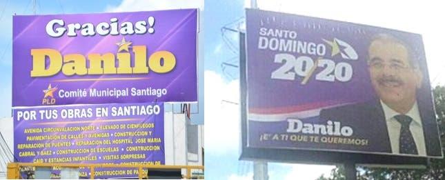 Vallas promoviendo la reelección de Danilo Medina.