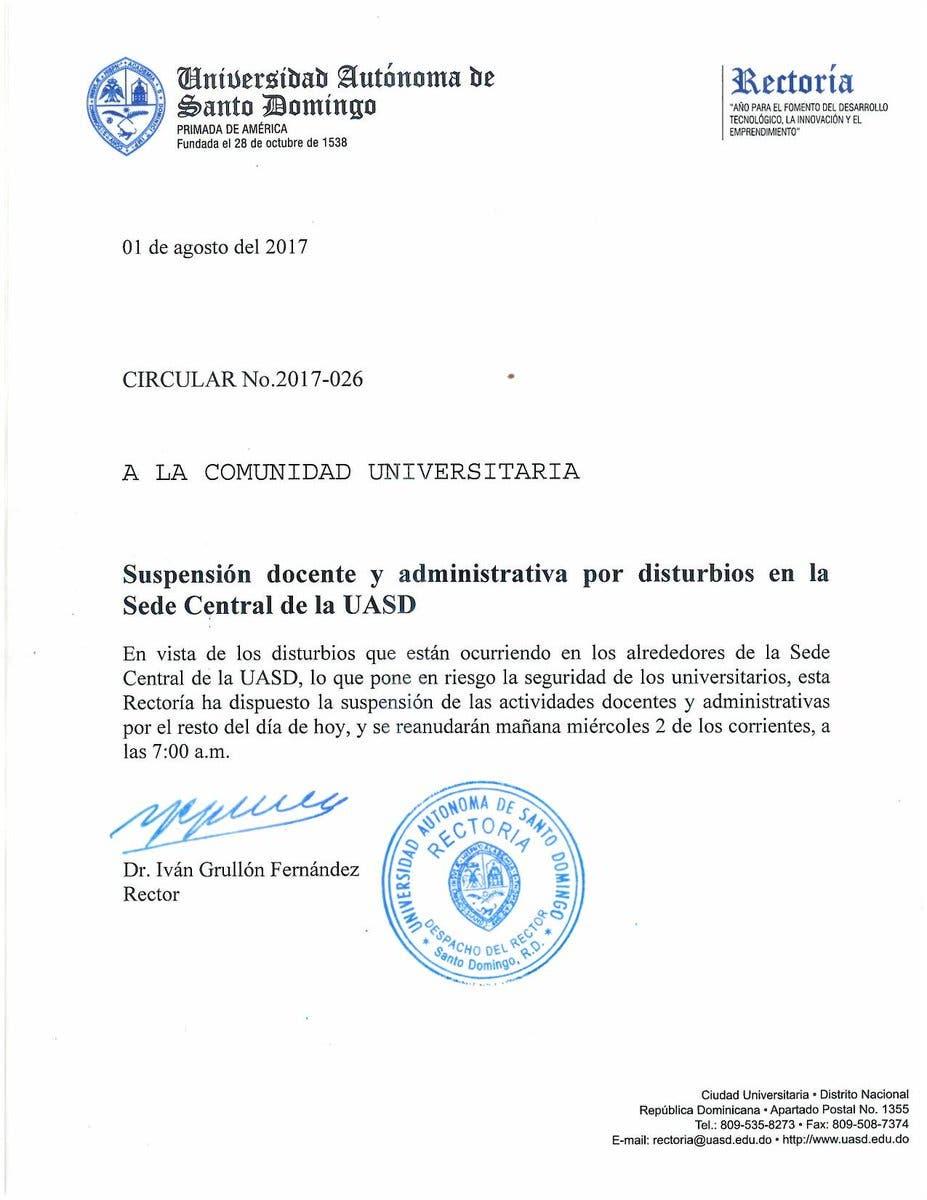 UASD suspende docencia en la sede central por enfrentamientos