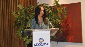 Claudia Franchesca de los Santos, directora del Intrant,  habla durante la conferencia.
