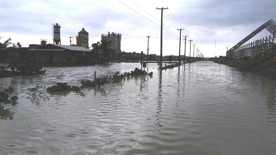 Vista de parte de los terrenos de las plantas de Punta Catalina inundados tras los aguaceros del huracán Irma. Foto: Fuente externa.