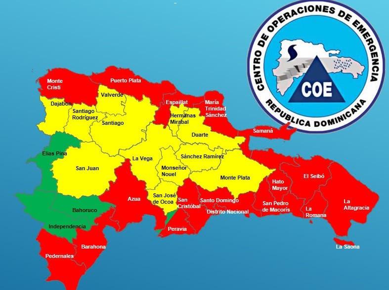 COE aumenta a 17 las provincias en alerta roja por paso del huracán Irma