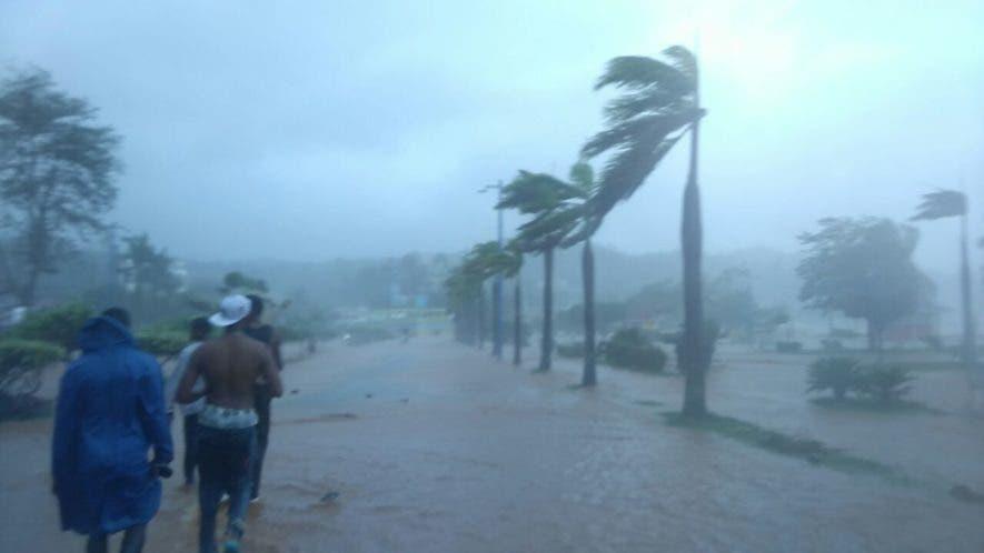 Jóvenes observan los efectos del huracán María, en Samaná. Foto: Elieser Tapia.