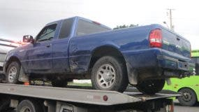 La camioneta cuando era trasladada a la sede de la Policía.