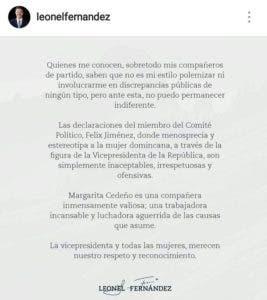 Comunicado de Leonel Fernández sobre declaraciones de Felucho.