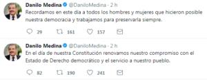 Tuits del presidente Danilo Medina.