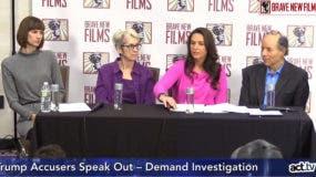 Rachel Crooks (izq.), Jessica Leeds. y Samantha Holvey durante la rueda de prensa.