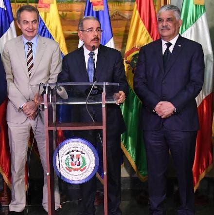 José Luis Zapatero, Danilo Medina y Miguel Vargas.