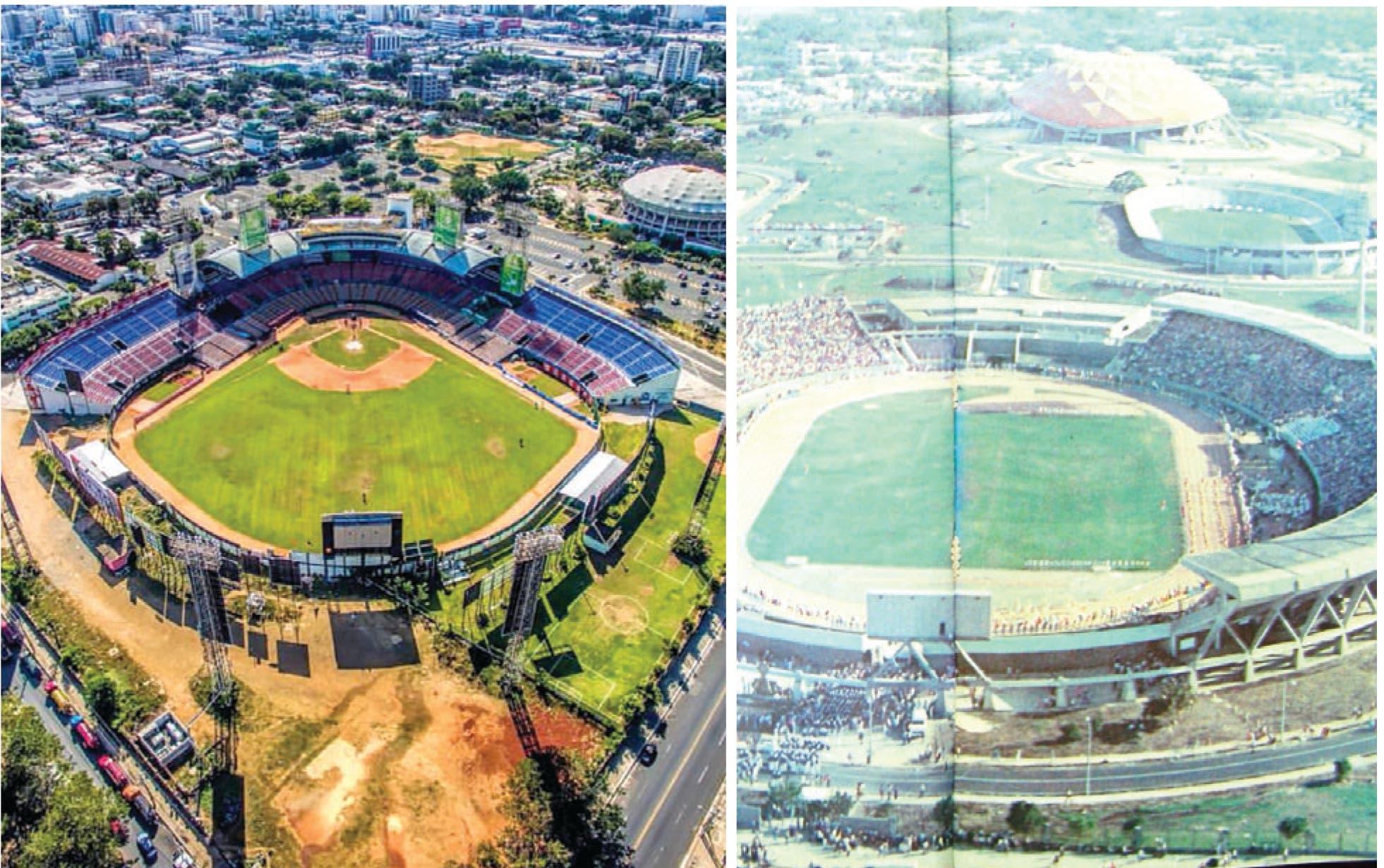 Vista aérea parcial de las dos viejas instalaciones deportivas,  estadio Quisqueya (izquierda) y el Centro Olímpico Juan Pablo Duarte.