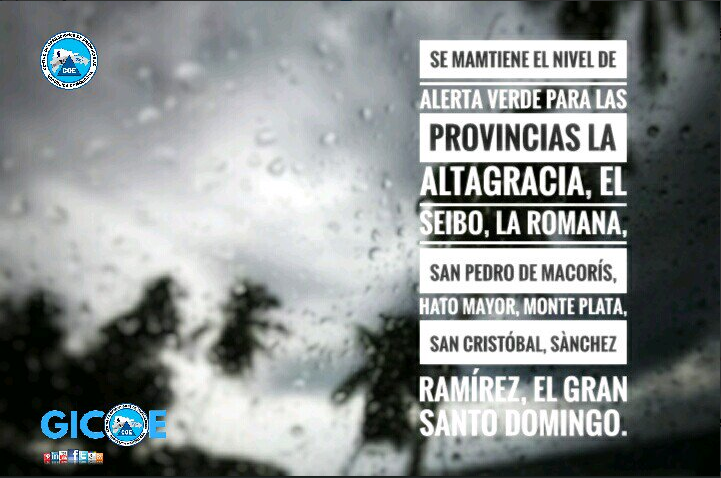 COE mantiene nivel de alerta verde para 8 provincias y el gran Santo Domingo
