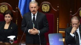 El presidente Danilo Medina Sánchez  mientras ofrecía su discurso de rendición de cuenta a la nación.
