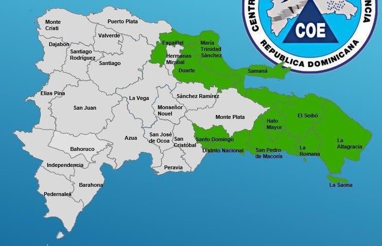 COE mantiene 9 provincias y el Gran Santo Domingo en alerta verde