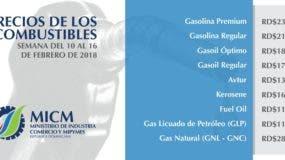 Precios de los combustibles para la semana del 10 al 16 de febrero de 2018