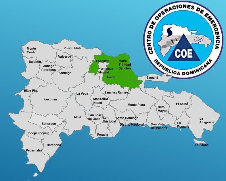 COE emite alerta verde para 10 provincias y el Distrito Nacional