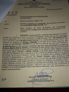 Denuncia hecha por la victima en la Dirección General de Asuntos Internos.