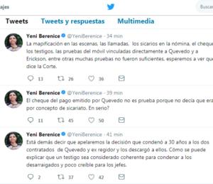Tuits de la fiscal ante decisión de tribunal. @YeniBerenice