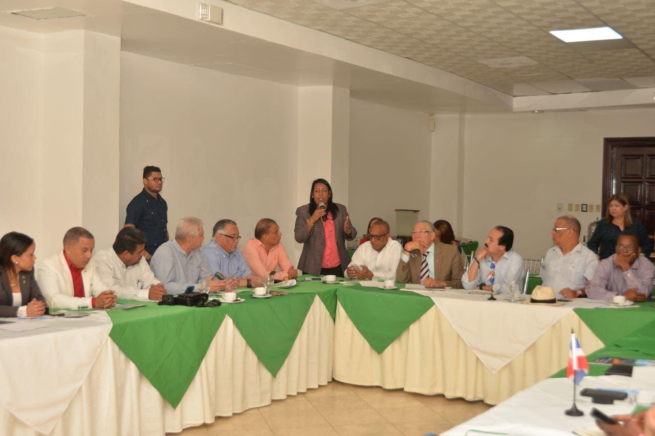 La directora de FEDOMU, Altagracia Tavárez, mientras tomaba un turno en el encuentro.