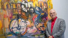 Willy Pérez junto a su obra Composición Social