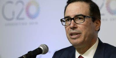 Steven Mnuchin habla durante la reunión del  G20. AFP