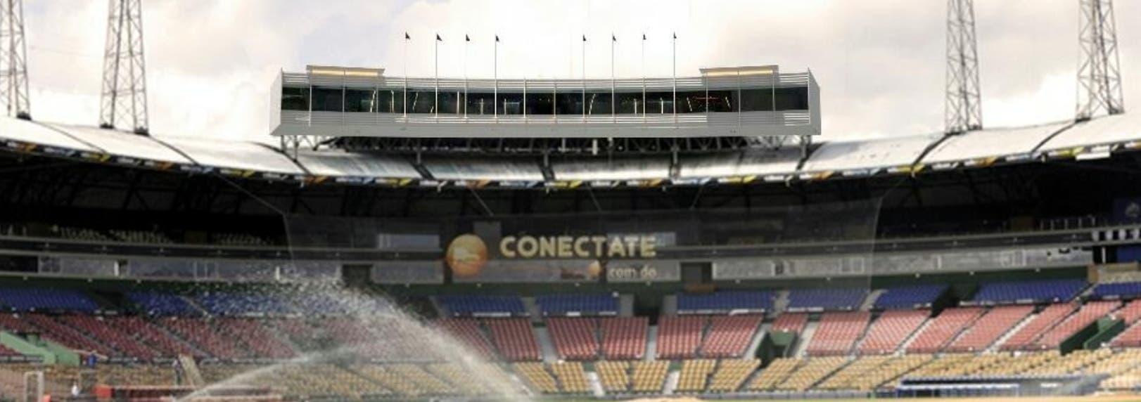 """El diseño arquitectónico del nuevo palco de prensa del estadio Quisqueya, mejor conocido como el """"séptimo cielo"""" . Foto de archivo"""