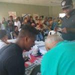 Así estaba uno de los centros de votación en el Capotillo, DN, cerca del mediodía.