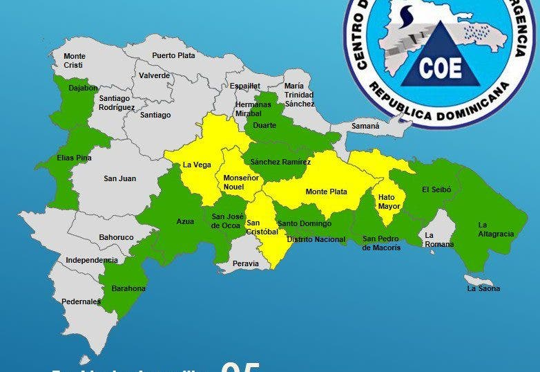 COE coloca 16 provincias bajo alerta por incidencia de vaguada