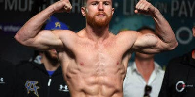 LAS VEGAS, NV - SEPTEMBER 15:  Boxer Canelo Alvarez poses on the scale during his official weigh-in at MGM Grand Garden Arena on September 15, 2017 in Las Vegas, Nevada.  Alvarez will challenge WBC, WBA and IBF middleweight champion Gennady Golovkin for his titles at T-Mobile Arena on September 16 in Las Vegas.  (Photo by Ethan Miller/Getty Images)
