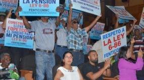 Trabajadores durante la celebración del Día del Trabajador  .