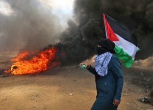La protesta, en medio de una huelga general en Gaza, era contra el traslado de la embajada de EEUU a Jerusalén.