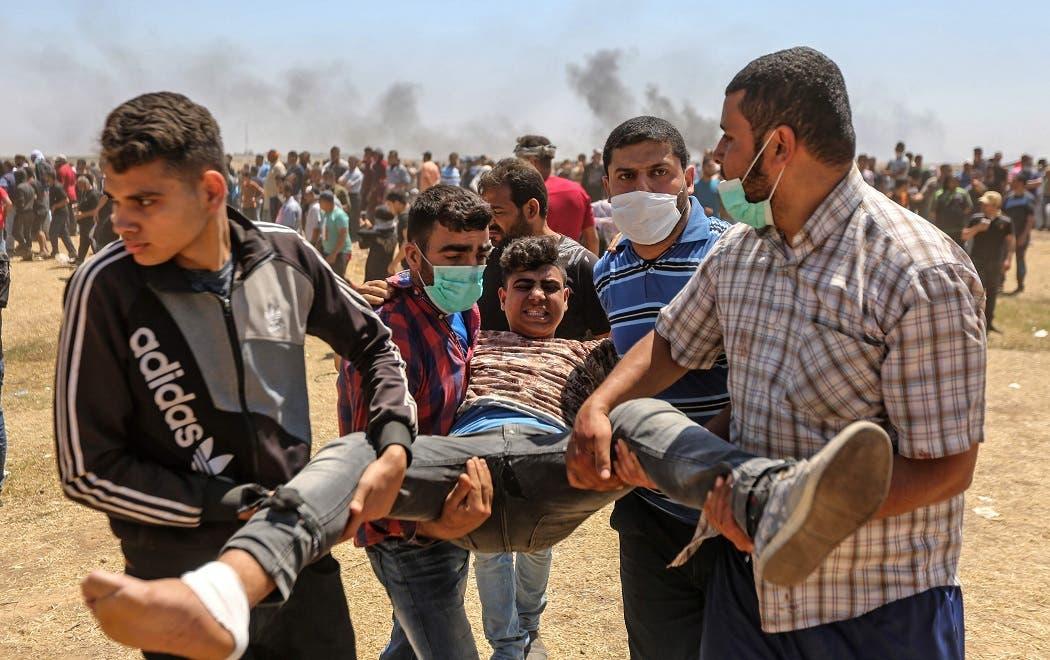 10. Otro herido durante la demostración en la Franja de Gaza.