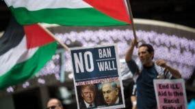 Miembros de la comunidad palestina en Nueva York realizaron hoy una manifestación en esta ciudad en apoyo a los palestinos y en rechazo a las agresiones de Israel.