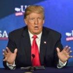 Donald Trump habló en un acto celebrado hoy en Cleveland . AFP