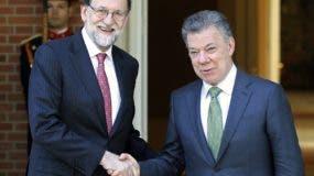 Mariano Rajoy y Juan Manuel Santos sostuvieron una reunión  en el palacio de La Moncloa, en Madrid. AP