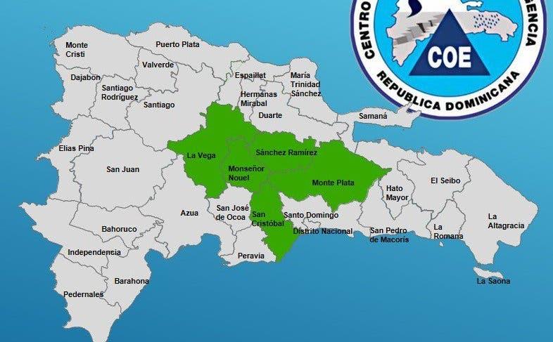 COE declara alerta verde para cinco provincias