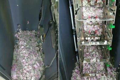 Los billetes fueron triturados dentro del cajero.