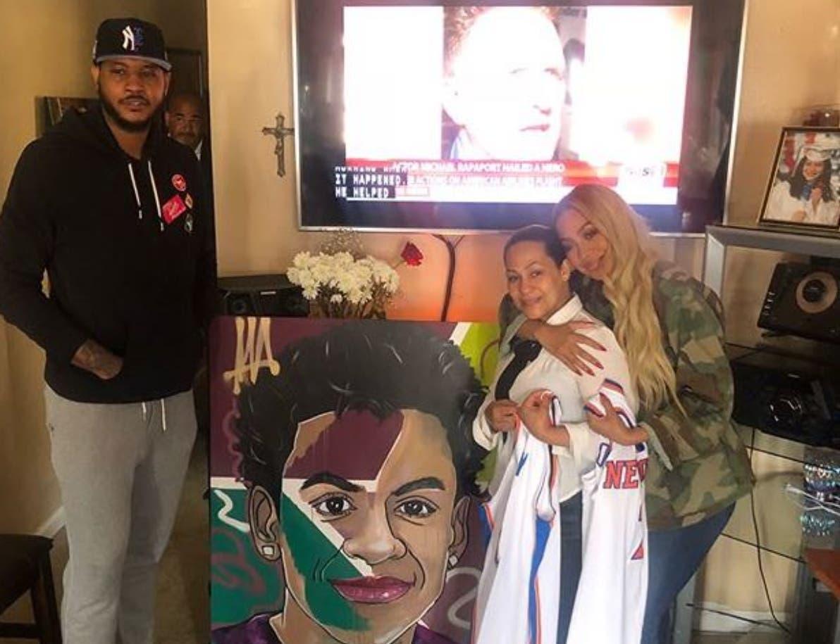 Carmelo Anthony y  esposa le ofrecen sus condolencias a la madre del menor asesinado.