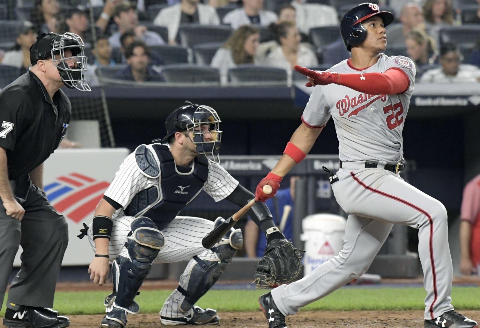 El   dominicano Juan Soto es motivo de muchos comentarios positivos que crecieron con dos jonrones en el Yankee Stadium. AP