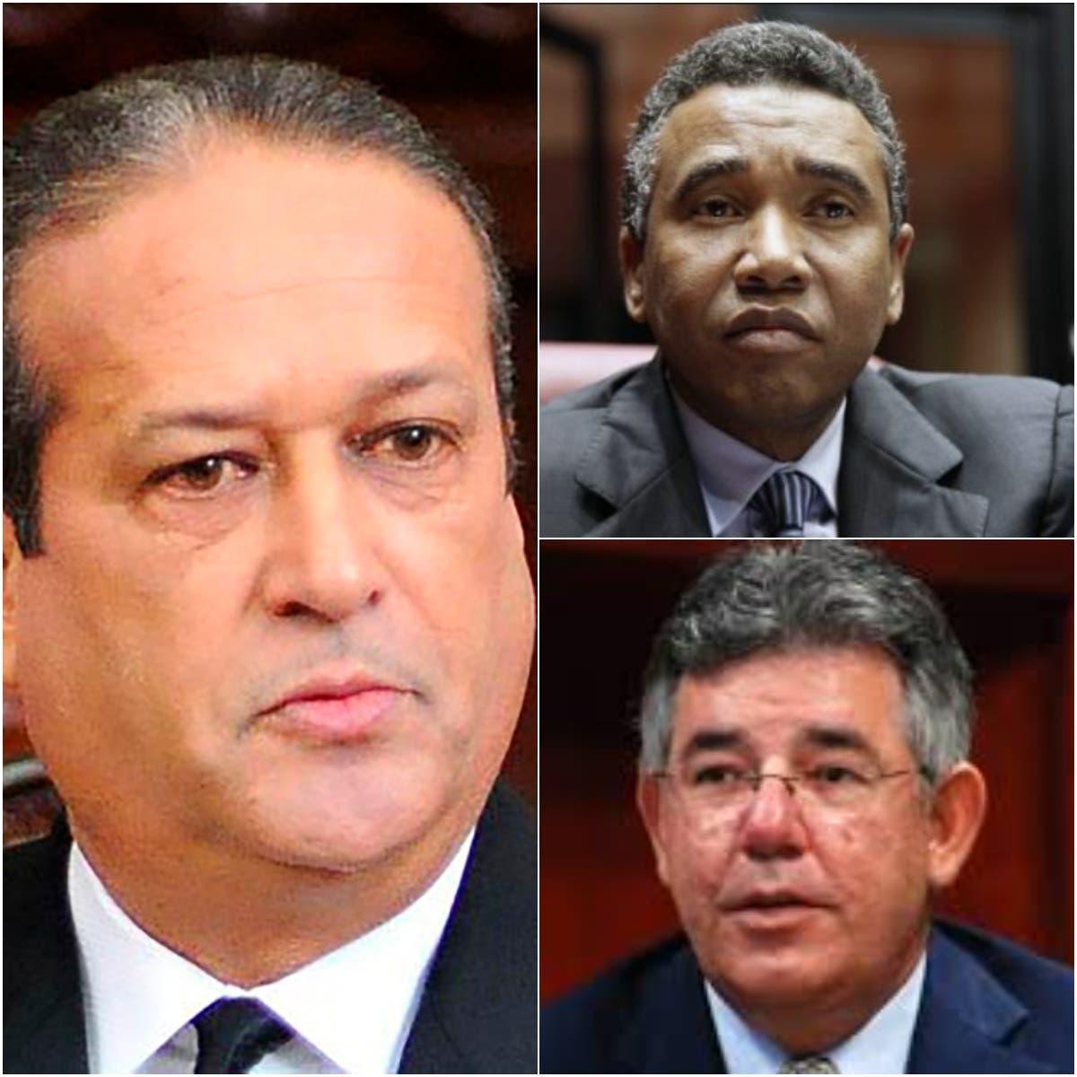 Reinaldo Pared Pérez (izq.), Félix Bautista (derecha y arriba) y Víctor Díaz Rúa.