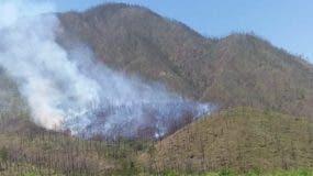 Vista del lugar donde se produjo el incendio en Valle Nuevo. Foto: Fuente externa.