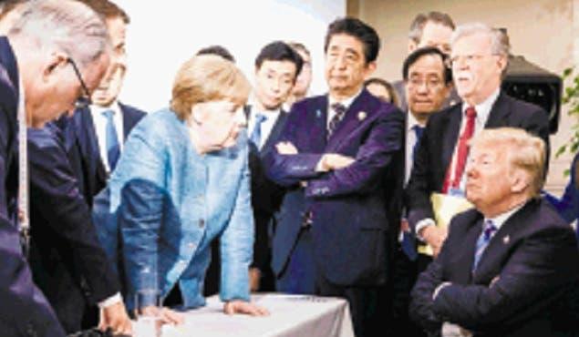 Líderes del G7 antes de la desautorización de Donald Trump.