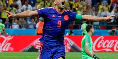 El delantero de Colombia Radamel Falcao tras marcar el segundo gol en la victoria 3-0 ante Polonia en el partido por el Grupo H del Mundial en Rusia, el domingo 24 de junio de 2018. (AP
