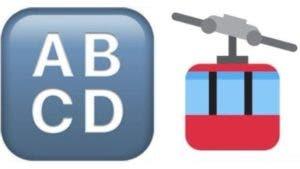 """Los dos emojis menos usados en Twitter: """"Símbolo de entrada de mayúsculas"""" (izquierda) y """"teleférico"""" (derecha)"""
