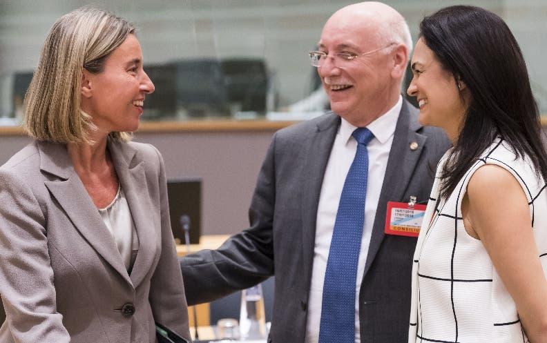 Canciller Federica Mogherini  durante una intervención.  AP