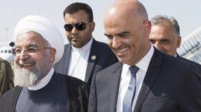 Hasan Rohaní  y su homólogo suizo, Alain Berset. aP