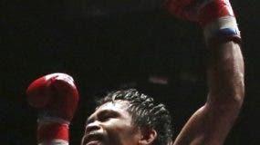 Manny Pacquiao celebra luego de la victoria.